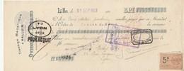 Lettre Change Mandat 27/9/1923 Ovigneur Tissage Halluin LILLE Nord à Canet Rochet Lyon Cachet + Timbre Fiscal - Letras De Cambio
