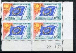 6275   FRANCE  Timbre-service 33 ** 50c Vert, Bleu, Rouge Et Jaune : Conseil De L'Europe   Du 22/1/71  TTB - Hoekdatums