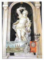Portugal Carte Maximum Sculpture Saint Sébastien Carlo Monardi 1732 Palais Mafra 2017 San Sebastien Sculpture Maxicard - Scultura