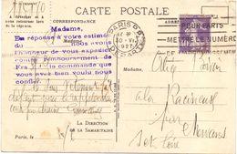 France 40 C Semeuse Roulette Sur Carte Du Bon Marche - Coil Stamps