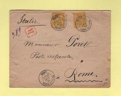 Milly - Seine Et Oise - Recommande Destination Rome - 17 Oct 1883 - 1877-1920: Période Semi Moderne