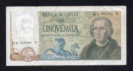 Banconota Italia 5000 Lire Colombo II° Tipo 1977 (circolata) - [ 2] 1946-… : Républic