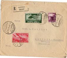 ITALIE YT N°116 ET 117 OBLITERES SUR LETTRE RECOMMANDEE POUR LA FRANCE - 1946-.. République
