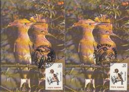 BIRDS, HOOPOE, CM, MAXICARD, CARTES MAXIMUM, 2X, 1995, ROMANIA - Picchio & Uccelli Scalatori