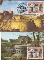 ARCHAEOLOGY, SUCEAVA FORTRESS RUINS, CM, MAXICARD, CARTES MAXIMUM, 2X, 1988, ROMANIA - Archeologie