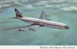 B.O.A.C. Boeing 707 Rolls Royce Jetliner In Flight, C1960s Vintage Postcard - 1946-....: Moderne