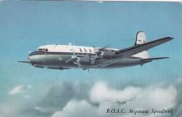 B.O.A.C. DC-4 Argonaut Speedbird Propeller Airplane In Flight, C1950s/60s Vintage Postcard - 1946-....: Modern Era