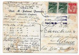 EDB310 - REPUBBLICA  1949, Cartoncino D'archivio Pubblicità Privata Sanitaria Farmacia. Samassi - 6. 1946-.. Repubblica