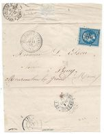 Lettre 1866 - 20c Bleu N°22 Losange GC 395 (Indice 8) + Cachet Ambulant Paris à Strasbourg (B) - Beaumont Sur Vesle (49) - Postmark Collection (Covers)