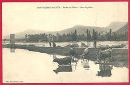 Saint Didier D'Aoste, Bords Du Rhône, Lieu De Pêche, Pont De Cordon, Carte Animée, Vache - Autres Communes