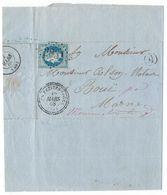 Lettre 1868 - 20c Bleu N°29 Losange GC 2831 - Les Petites Loges (49) Indice 16 + Cachets à Date Et Cachet Boite Rurale A - 1849-1876: Période Classique