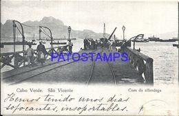 90393 CABO VERDE SAO VICENTE COSTOMS DOCK SHIPS & RAILROAD POSTAL POSTCARD - Cape Verde