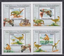 Comores 2010 Prehistory Prehistoire Dinosaurs Dinosaures  BF Luxe Perforé Gommé - Prehistory