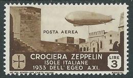 1933 EGEO POSTA AEREA ZEPPELIN 3 LIRE MH * - I36-7 - Aegean