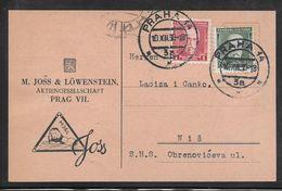 Czechoslovakia - 1930 Postcard  With Commercial Illustration - Praha To Nisch Yugoslavia - Checoslovaquia