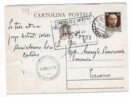 EDB319 - REGNO , Cartolina Postale Da Castelli 17/8/1934 - 1900-44 Vittorio Emanuele III