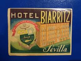HOTEL BIARRITZ  ETIQUETTE HOTEL SEVILLA - Advertising