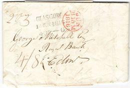 AR57) GREAT BRITAIN Entire From Glasgow To Edinburgh ( 1816 ) High Charge 4/8 ( Weight 2oz ) - ...-1840 Precursori
