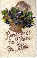 """41 - BLOIS - T.Belle Carte Fantaisie à Système """" Bonjour De La Foire De Blois """" ( Corbeille De Fleurs , Ruban ) - Mechanical"""