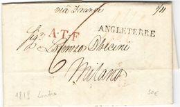 AR58) GREAT BRITAIN POSTAL HISTORY TO ITALY (1819) - ...-1840 Precursori