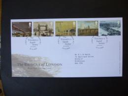 GREAT BRITAIN [GB] SG 2309-13 BRIDGES OF LONDON FDC LONDON THE THAMES IS LIQUID HISTORY; JOHN BURNS - FDC