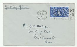 1953 Birkhamsted GB FDC CORONATION  SLOGAN Pmk LONG LIVE THE QUEEN  4d Stamps Cover Royalty - FDC