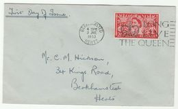 1953 Birkhamsted GB FDC CORONATION  SLOGAN Pmk LONG LIVE THE QUEEN  2 1/2d Stamps Cover Royalty - FDC