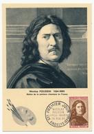 FRANCE => 0,30 + 0,10F Nicolas POUSSIN Sur Carte Maximum, Premier Jour LES ANDELYS (Eure) 1965 - Cartes-Maximum