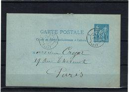 CTN27 - CARTE POSTALE SAGE 15c BLEU 2 LIGNES CIRCULE NOVEMBRE 1878 - Ganzsachen