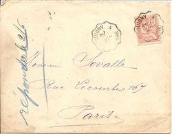 """MOUCHON   Sur  LAC(écrite à ECAQUELON CANTON DE MONFORT S/ RISLE  OBLI  CONVOYEUR  """" SERQUIGNY A ROUEN  """"  Pour PARIS - 1877-1920: Semi Modern Period"""