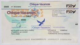 CHEQUE VACANCES - ANCV - MUTUALITE FONCTION PUBLIQUE - 2000 - 50 FRANCS - Cheques & Traveler's Cheques