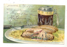 8500 NÜRNBERG, Brtwurstglöcklein, Nürnberger Rostbratwurst, Sauerkraut, Dunkelbier, 1901, Halt Gegen Licht/hold To Light - Nuernberg