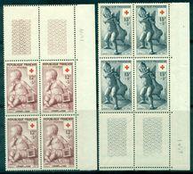 FRANCE N° 1048 / 1049 Nxx .croix Rouge , Enfants En Blocs De 4 Tb Cote 66 € . - Frankreich