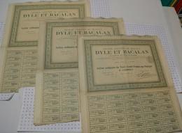 Lot De 3 Titres : Dyle Et Bacalan - Chemin De Fer & Tramway