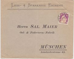 "SWITZERLAND 1915 (7.9.) BANK COVER (Return Env.München Germany) USED POSTMARK ""Eschenz"" - Autres"
