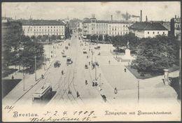Breslau - Wrocław - Brassel - Königsplatz Mit Bismarckdenkmal - See 2 Scans. - Polonia