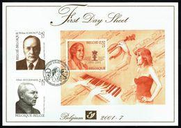 FDS 2001 - 7 - COB N° 2990/92 BL 90 - Musique Et Littérature: W. ELSSCHOT, A. AYGUESPARSE Et S.M. La Reine ELISABETH. - FDC