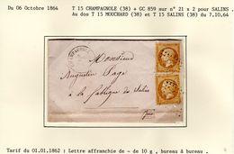 JURA : LAC  T 15 CHAMPAGNOLE  +  GC 859 Sur YT 21 X 2 En 1864 - 1849-1876: Periodo Classico
