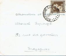 Très Beau Cachet à 7 Points Bois-d'Haine La Croyère Sur Timbre COB N°845 (29/12/1956) - Postmarks - Points