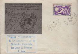 Cote Française Des Somalis Djibouti 10-12 I958 Avec Griffe Bleu 1er Jour 10e Ann. Des Droits De L'Homme - Lettres & Documents