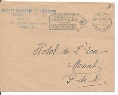 """1954 - OMEC - PARIS 36 - MECA PP """"PENSEZ A LA CROIX-ROUGE..."""" Sur ENVELOPPE - Marcophilie (Lettres)"""