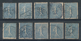 Semeuse N°132 - Petit Lot De 10 Timbres Cote 15,50€ - 1903-60 Sower - Ligned