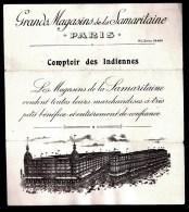 GRANDS MAGASINS LA SAMARITAINE- COMPTOIR DES INDIENNES- BELLE ILLUSTRATION + PALETTE ECHATILLONS TISSUS TEINTES DIVERSES - Textile