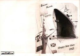 CARTE BONNE ANNEE 1965 PAQUEBOT FRANCE COMPAGNIE GÉNÉRALE TRANSATLANTIQUE - Dampfer