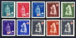 CROATIA 1943 Red Cross Set MNH / **.  Michel 118-27 - Croatia