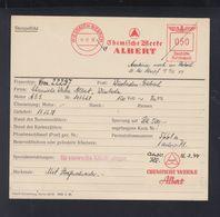 Dt. Reich Archiv- Und Reparaturkarte Fa. Francotyp 1938 Chemische Werke Albert Wiesbaden-Biebrich - Germany