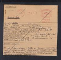 Dt. Reich Archiv- Und Reparaturkarte Fa. Francotyp 1925 - Affrancature Meccaniche Rosse (EMA)