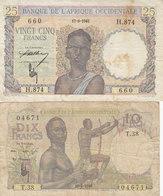2 Billets Afrique Occidentale 25 Francs 25 F 1943 Et 10 Francs 10 F 1948 - Billets