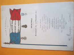 Menu/ Association Amicale Des Anciens Militaires  Décorés Et Médaillés/ Hennequin/ Ville D'EPERNAY/ 1911      MENU237 - Menus