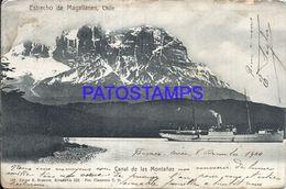 90426 CHILE ESTRECHO DE MAGALLANES CANAL DE LAS MONTAÑAS & SHIP CIRCULATED TO FRANCE POSTAL POSTCARD - Chile